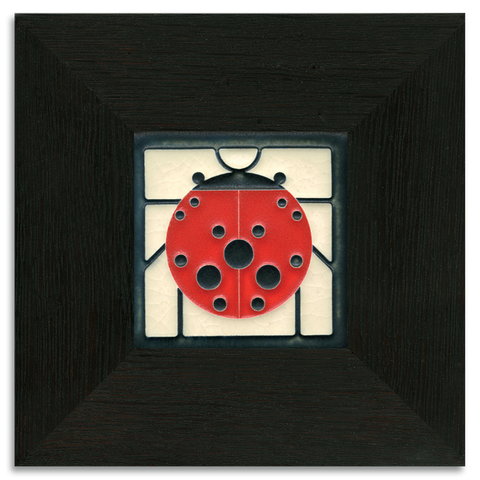 4x4 Ladybug with Border - White Art Tile, Framed