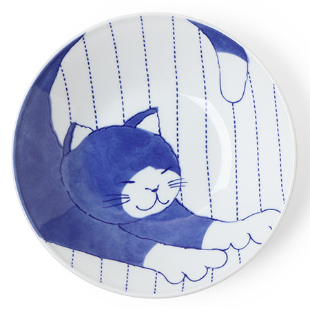 "Blue Cats 9.75"" Serving Bowl"
