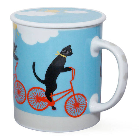Cruiser Cat Mug with Lid - Blue