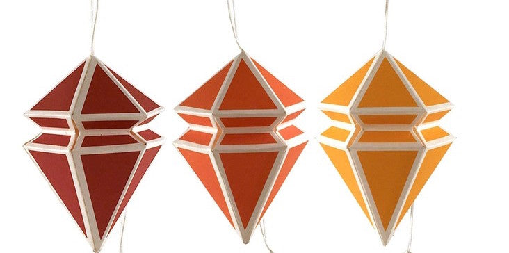 Geometric Paper Ornament Set: Warm Colors