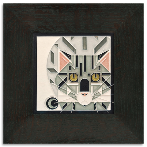 6x6 Grey Catnip Art Tile, Framed