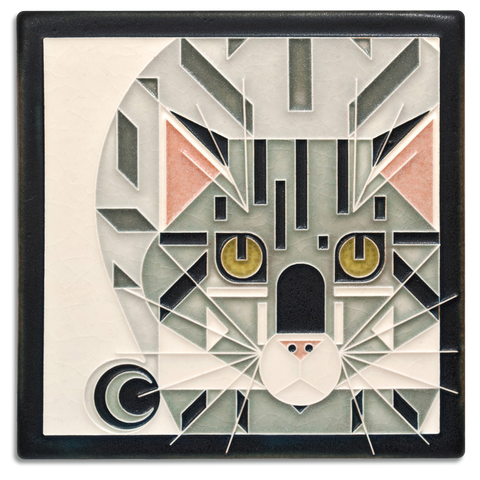 6x6 Grey Catnip Art Tile