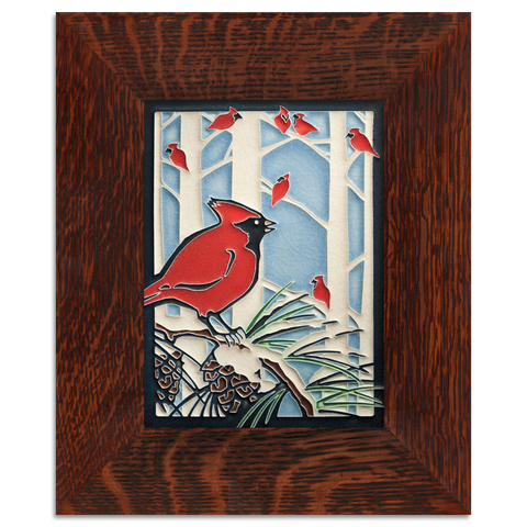 6x8 Winter Cardinals Art Tile, Framed
