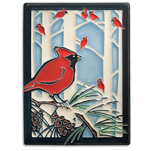 6x8 Winter Cardinals Art Tile