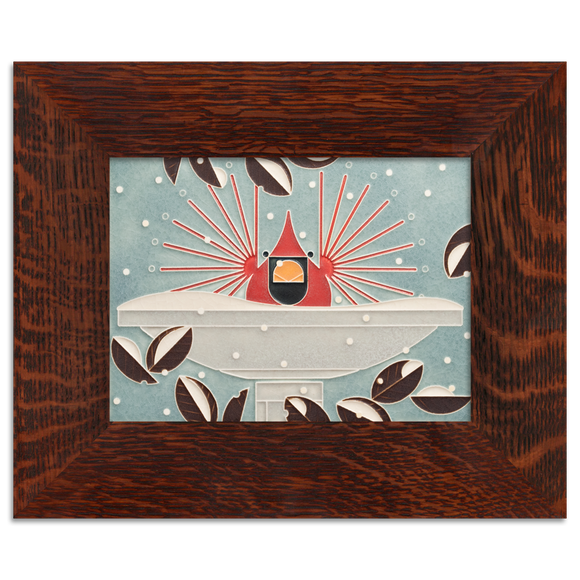 6x8 Brrrrdbath Art Tile, Framed