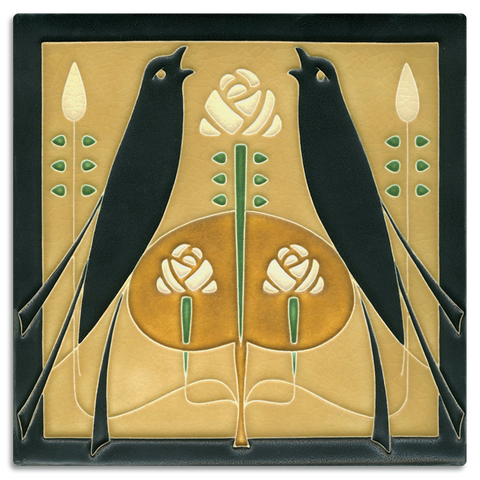 8x8 Songbirds Golden Art Tile