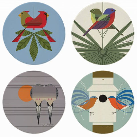 "Charley Harper's ""Love Birds"" Coaster Set"