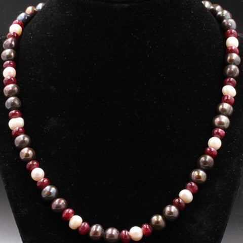 Black Pearl & Ruby Necklace