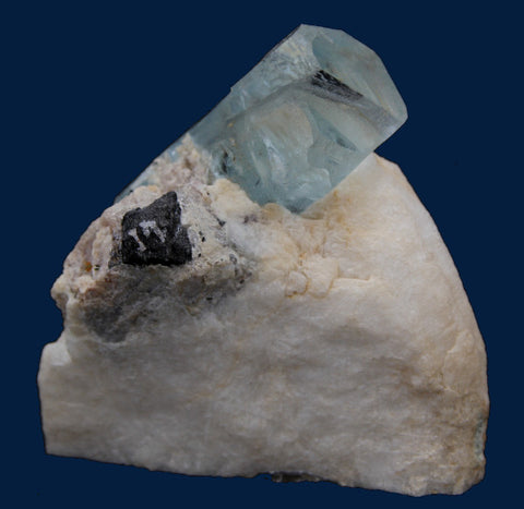 Aquamarine & Black Tourmaline in Topaz & Calcite