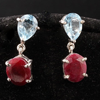Blue Topaz & Ruby Earrings