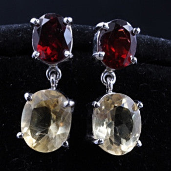 Citrine & Garnet Earrings
