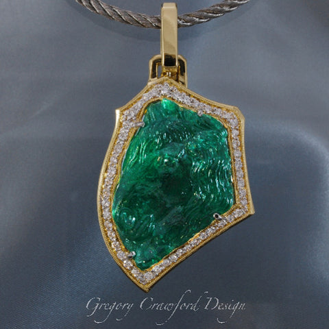 "70.37 ct. Natural Emerald Carving "" Bucephalus"""