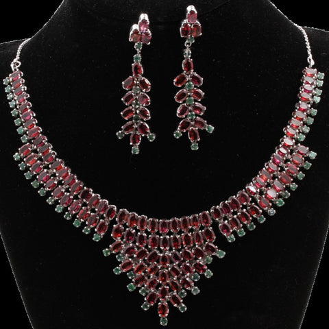 Garnet & Emerald Necklace Set