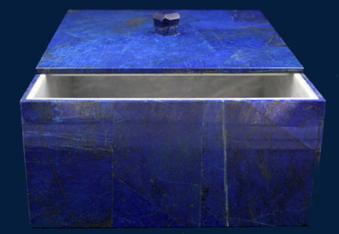 Large Square Lapis Lazuli Box in White Marble