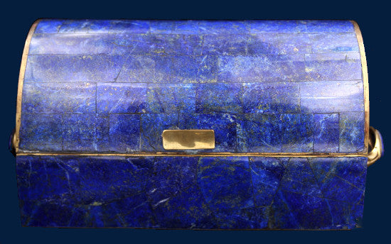 lapis lazuli box with brass and lapis handles the gem hunters