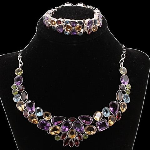 Multi-Gem Necklace & Bracelet Set