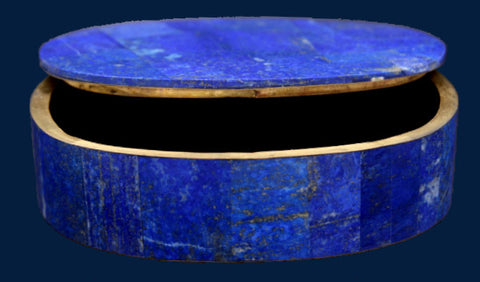 Oval Lapis Lazuli Box with Brass