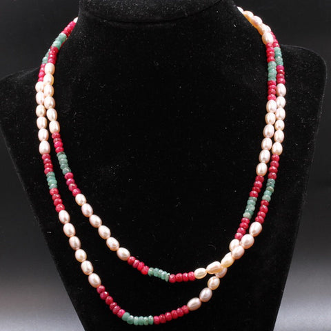 Pearl,Ruby, & Emerald Necklace