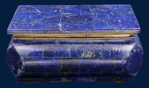 Lapis Lazuli Box with Brass and Velvet Accent