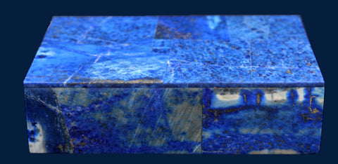 Rectangular Lapis Lazuli Box in White Marble