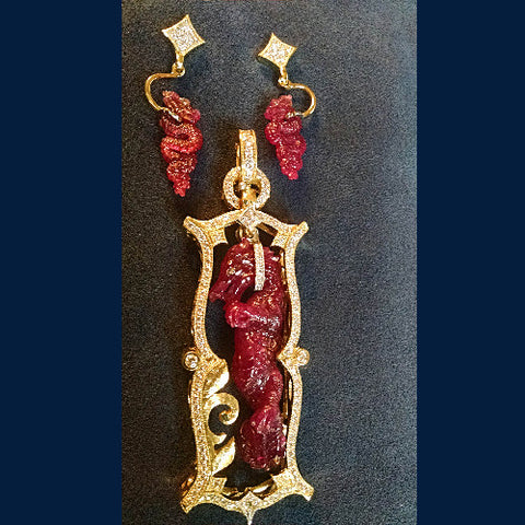 Ruby Dragon Pendant & Earring Set