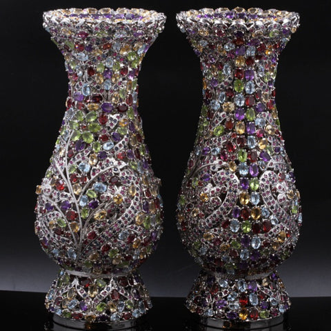 Gemstone Vase Pair