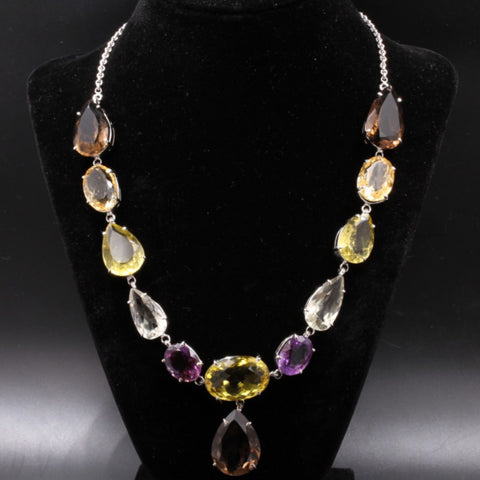 Silver Multi Gem Necklace