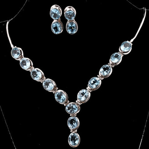 Blue Topaz Necklace Set