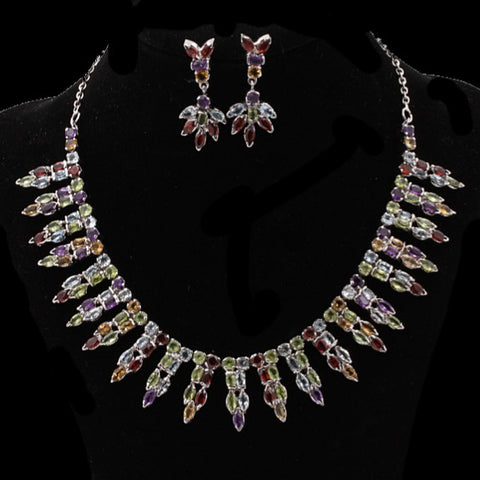 Multi-Gem Necklace Set