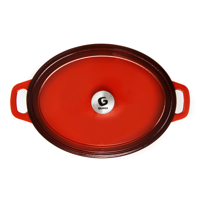 GURO Cast Iron Enamel Coated Oval Casserole, Red, 7.4QT / 7L