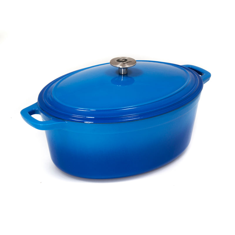 Enamel Coated Oval Cast Iron Casserole, Ocean Blue, 7.4QT / 7L