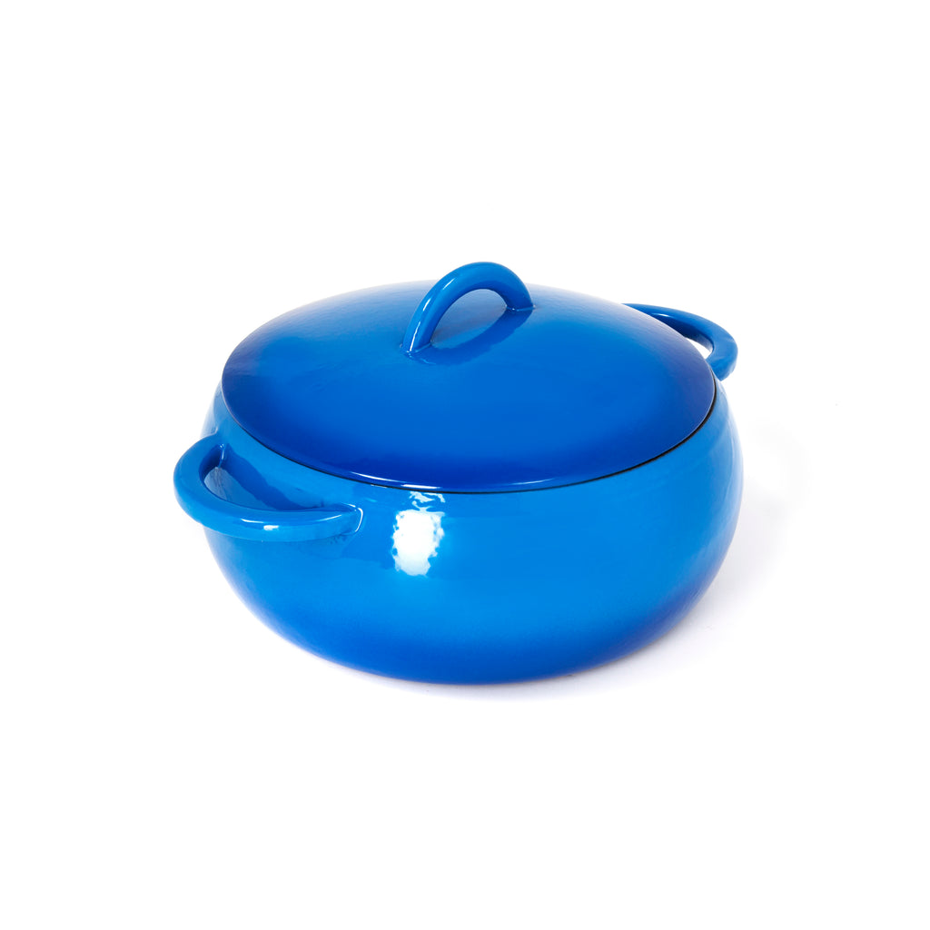 GURO Cast Iron Enamel Coated Dome Casserole, Blue, 4.7QT / 4.5L