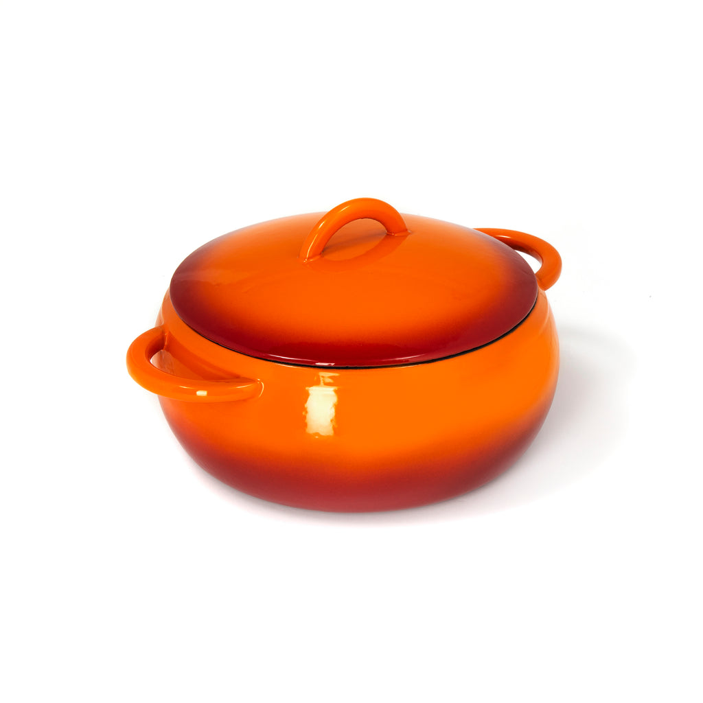 GURO Cast Iron Enamel Coated Dome Casserole, Orange, 4.7QT / 4.5L