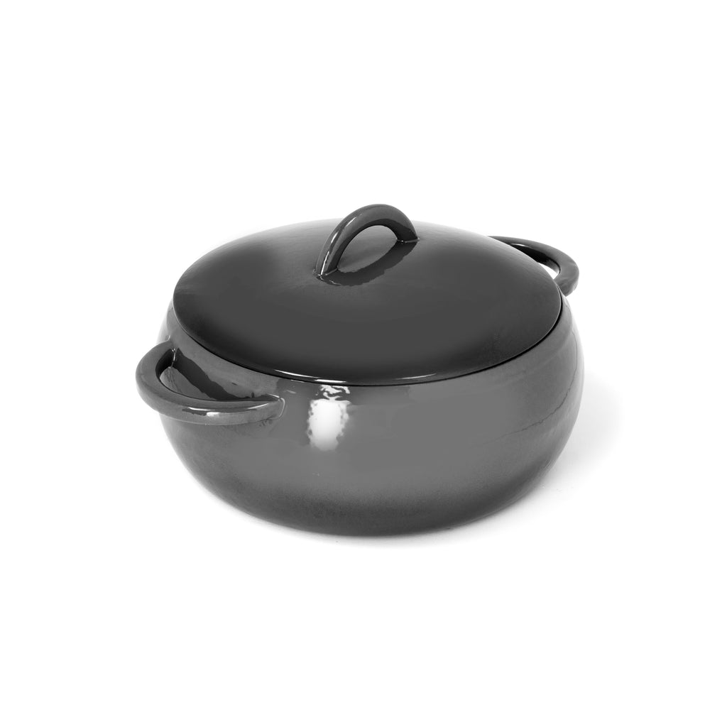 GURO Cast Iron Enamel Coated Dome Casserole, Grey, 4.7QT / 4.5L