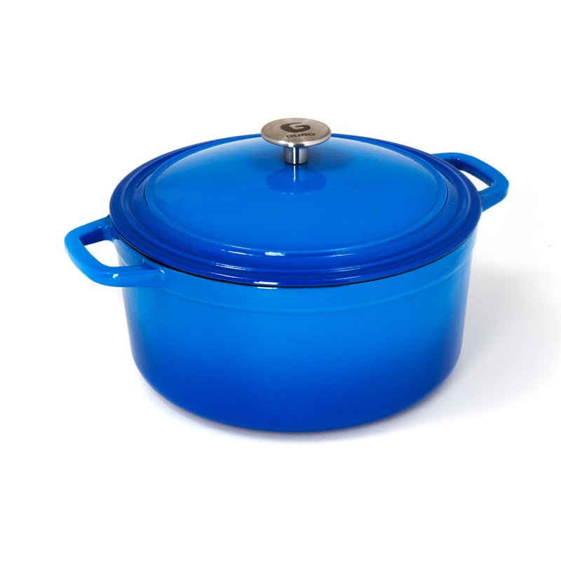GURO Cast Iron Enamel Coated Round Dutch Oven Casserole, Blue, 6.3QT / 6L