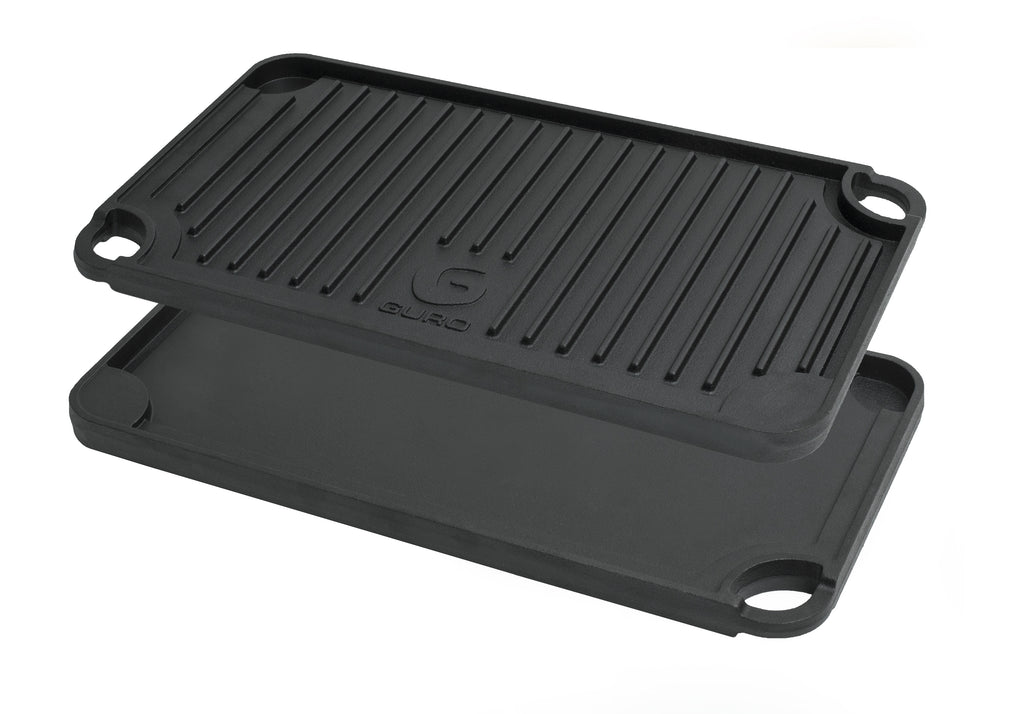 "GURO Cast Iron Pre-Seasoned Double Play Grill / Griddle 19.7"" x 10"""