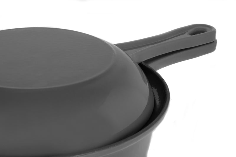 Enamel Coated Cast Iron Sauce Pan with Skillet Lid Combo, Grey (1.7QT)