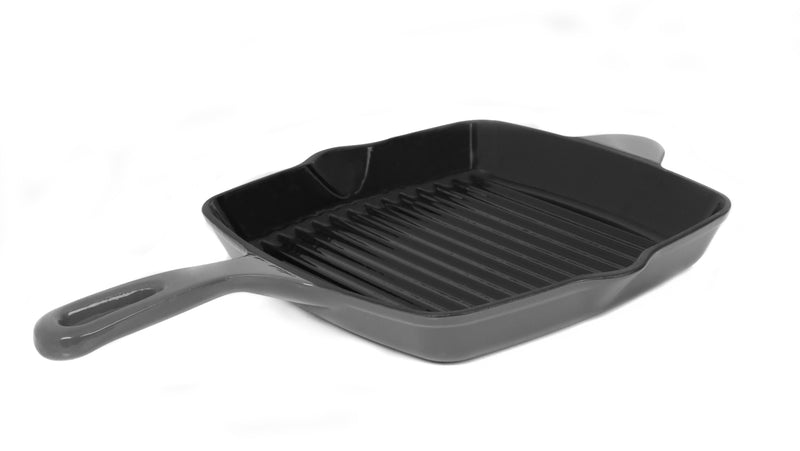 "GURO Cast Iron Enamel Coated Grill Pan, Grey, 9.8"" x 9.8"""