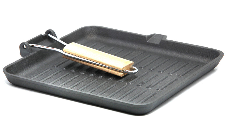 "Pre-Seasoned Cast Iron Square Griddle Frypan 9.8"" x 9.8"""