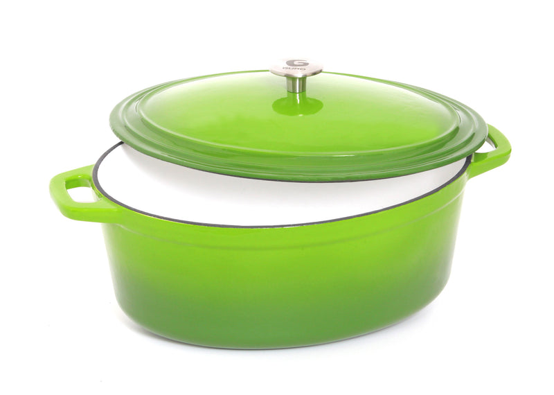 Enamel Coated Oval Cast Iron Casserole, Green, 7.4QT / 7L