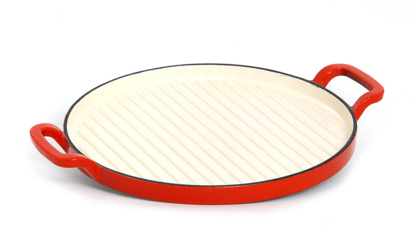 GURO Cast Iron Enamel Coated Round Griddle, Red, 12.2""