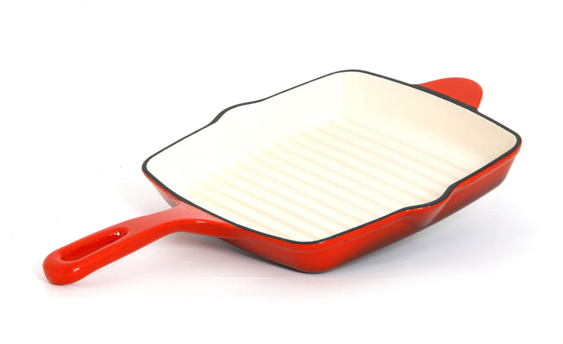"GURO Cast Iron Enamel Coated Grill Pan, Red, 9.8"" x 9.8"""