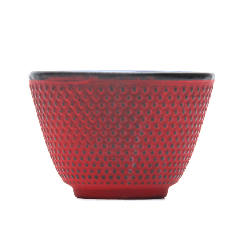 GURO Cast Iron Sigma Tea Cup with Inner Enamel Coating, Red