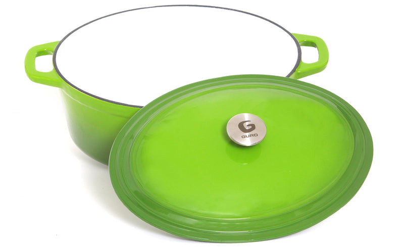 GURO Cast Iron Enamel Coated Oval Casserole, Green, 7.4QT / 7L