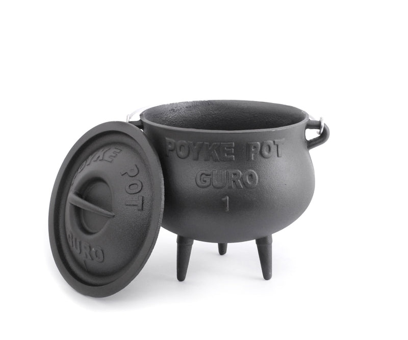 GURO Cast Iron Potjie (Poyke) Pot Dutch Oven Size No. 1, 3.2QT