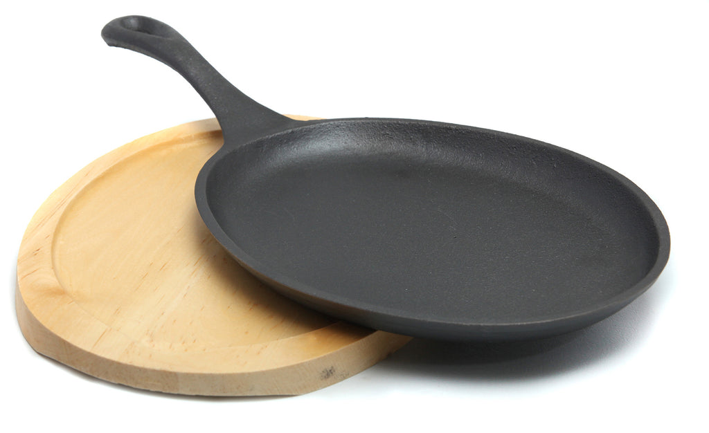 GURO Cast Iron Pre-Seasoned Oval Fajita Pan with Wooden Serving Plate