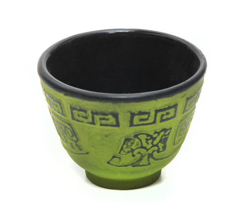 GURO Cast Iron Terracota Tea Cup with Inner Enamel Coating, Green