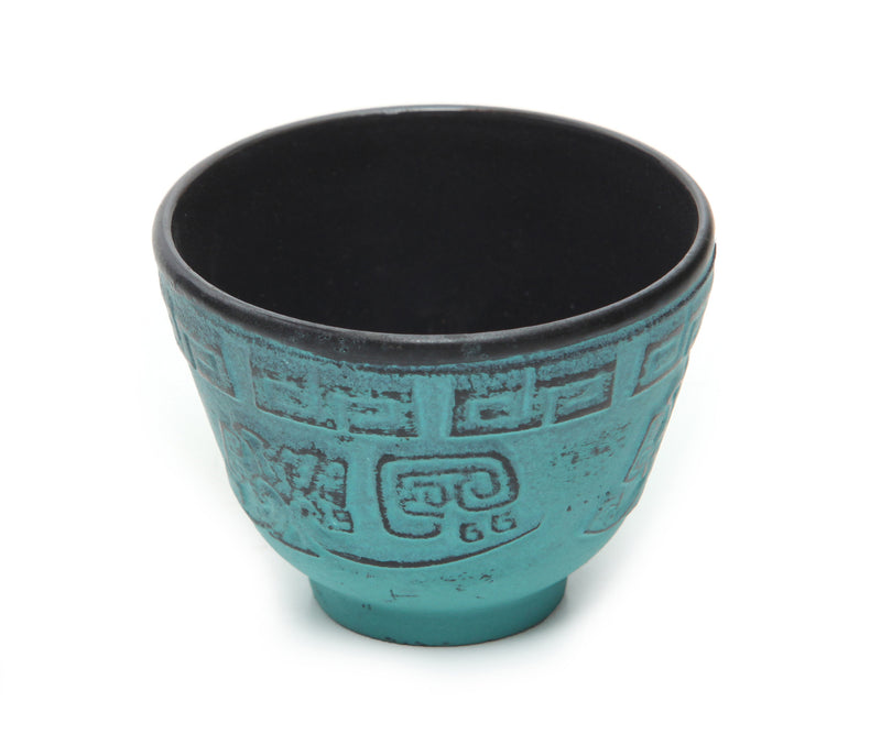 GURO Cast Iron Terracota Tea Cup with Inner Enamel Coating, Turquoise