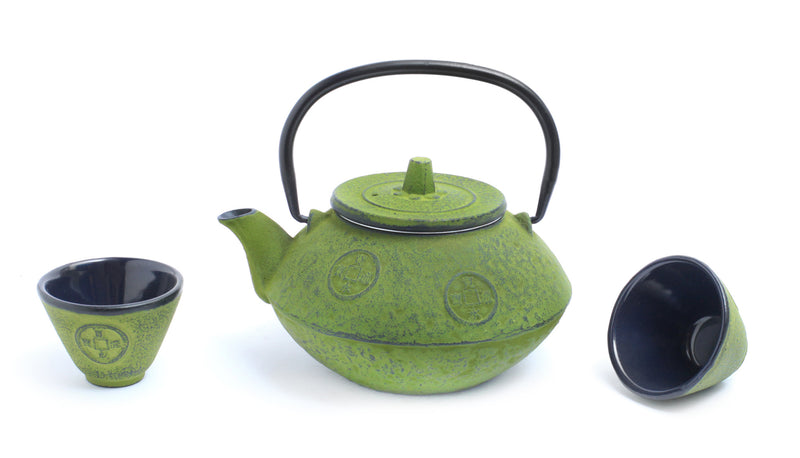 GURO Cast Iron Sigma 27 Ounce Teapot Set, Green