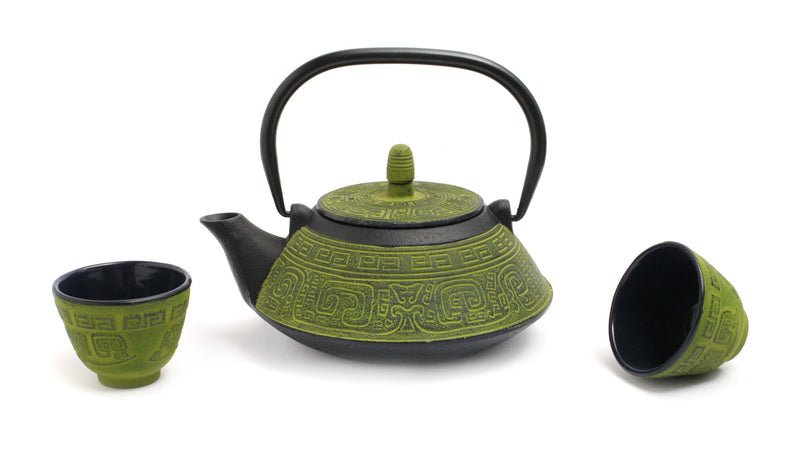GURO Cast Iron Terracota 33 Ounce Teapot Set, Green